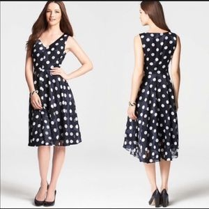 Ann Taylor polka dot chiffon tonal navy dress